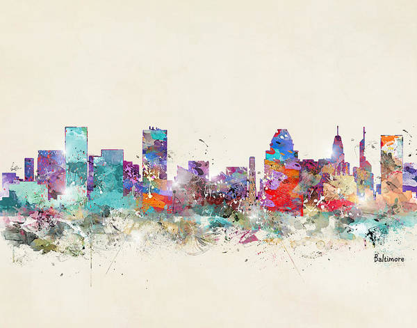 Wall Art - Painting - Baltimore Maryland Skyline by Bri Buckley