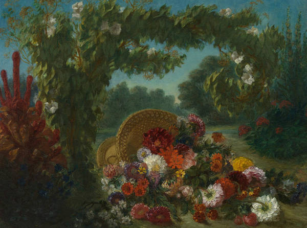Painting - Basket Of Flowers by Eugene Delacroix