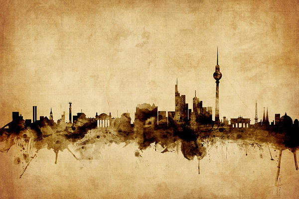 Germany Wall Art - Digital Art - Berlin Germany Skyline by Michael Tompsett