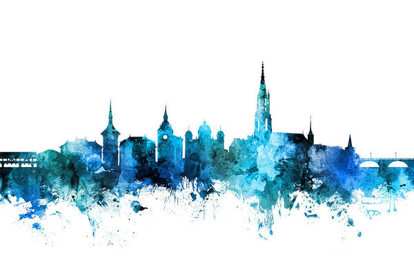 Switzerland Digital Art - Bern Switzerland Skyline by Michael Tompsett