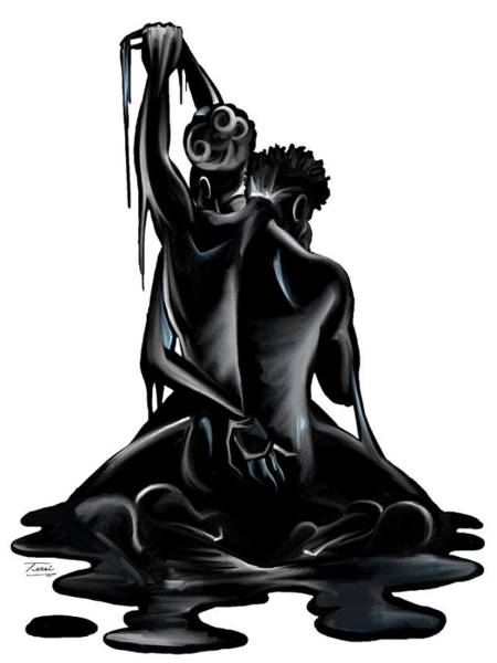 Unity Drawing - Black. by Terri Meredith