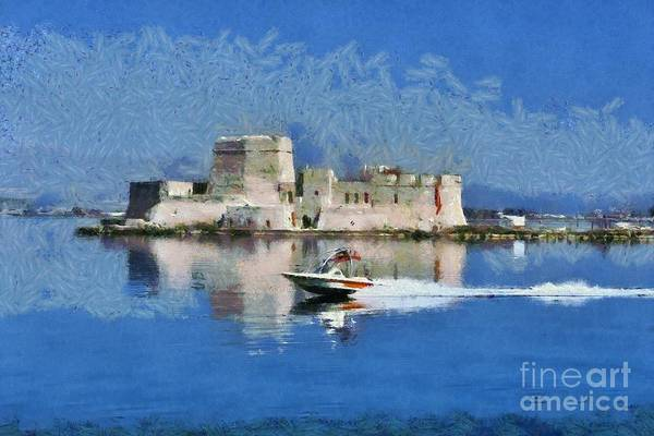Peloponnese Painting - Bourtzi Fortress by George Atsametakis