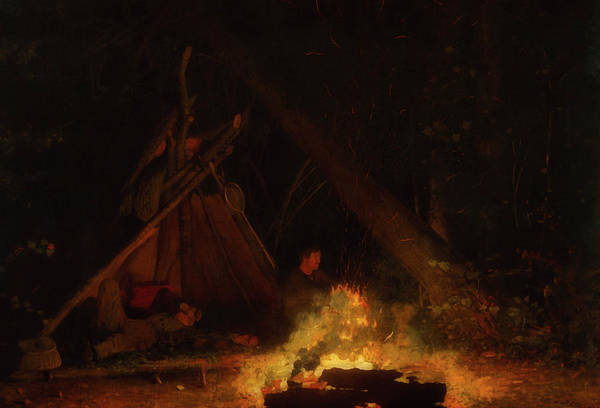 Wall Art - Painting - Camp Fire by Winslow Homer