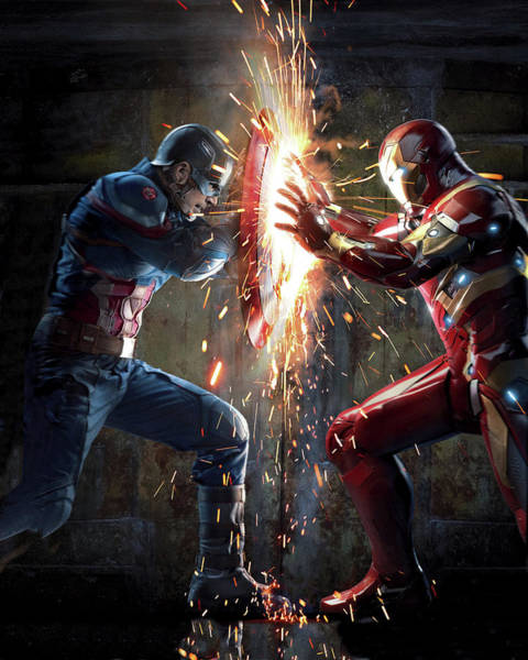 Digital Paint Digital Art - Captain America Civil War 2016 by Geek N Rock