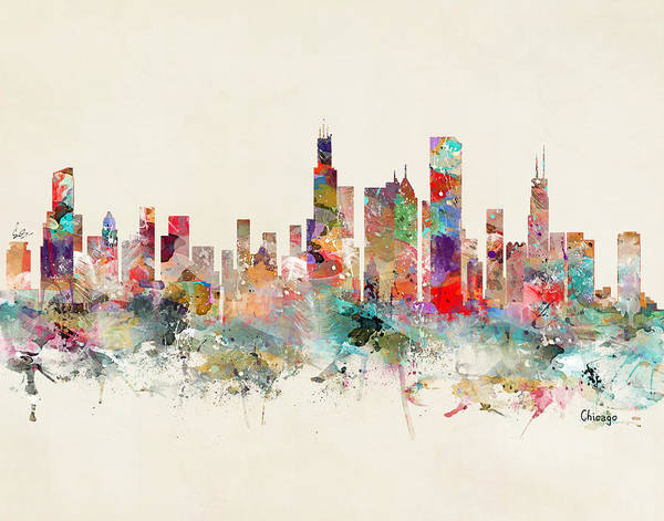 Watercolour Landscape Painting - Chicago City Skyline by Bri Buckley