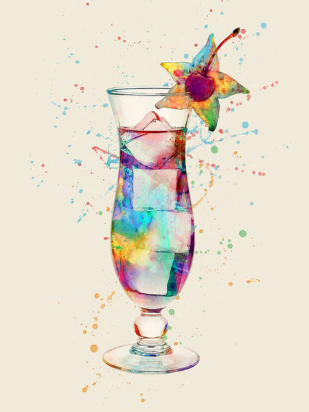 Digital Art - Cocktail Drinks Glass Watercolor by Michael Tompsett