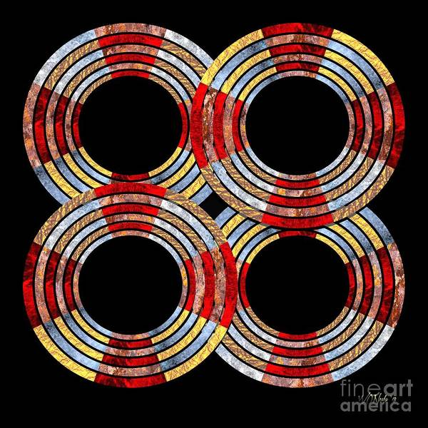 Digital Art - 6 Concentric Rings X 4 by Walter Neal