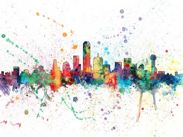 Dallas Digital Art - Dallas Texas Skyline by Michael Tompsett