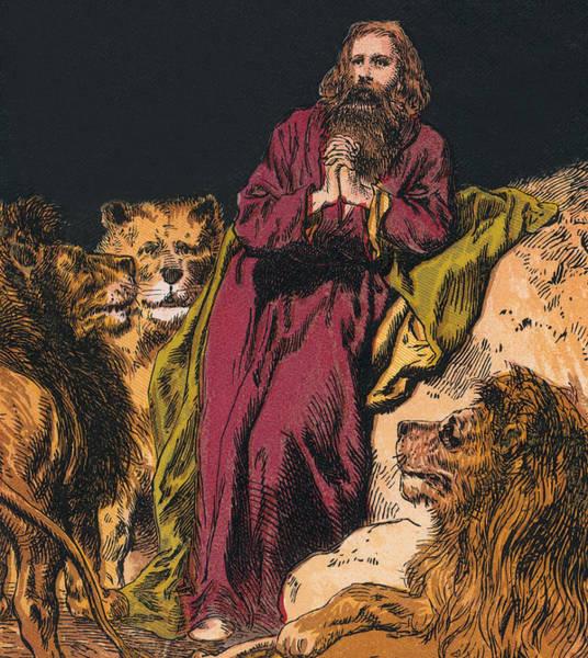 Perilous Wall Art - Drawing - Daniel In The Lions' Den by English School
