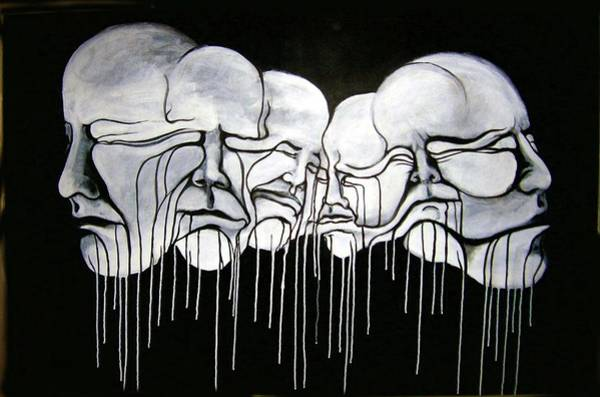 Merge Painting - 6 Faces by Stephen  Barry