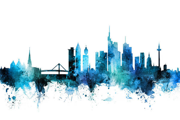 Frankfurt Wall Art - Digital Art - Frankfurt Germany Skyline by Michael Tompsett
