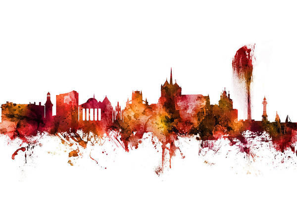 Wall Art - Digital Art - Geneva Switzerland Skyline by Michael Tompsett