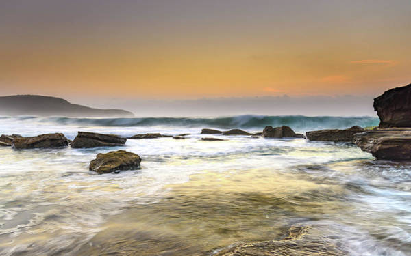 Killcare Photograph - Hazy Dawn Seascape With Rocks by Merrillie Redden