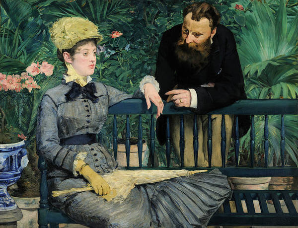 Conservatory Wall Art - Painting - In The Conservatory by Edouard Manet