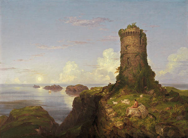 Rocky Coast Painting - Italian Coast Scene With Ruined Tower by Thomas Cole