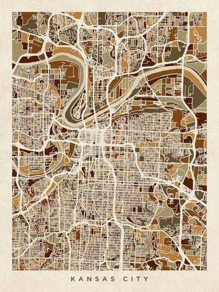 Kansas Digital Art - Kansas City Missouri City Map by Michael Tompsett