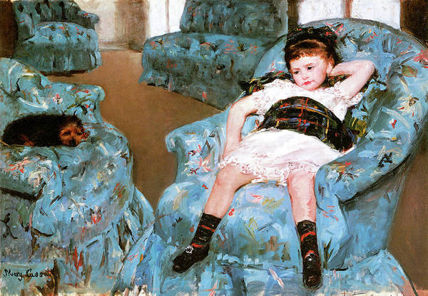 Wall Art - Photograph - Little Girl In A Blue Armchair by Mary Cassatt