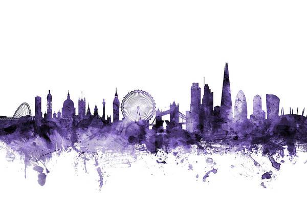 Purple Digital Art - London England Skyline by Michael Tompsett