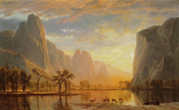 Hudson Valley Wall Art - Painting - Looking Down Yosemite Valley by Albert Bierstadt