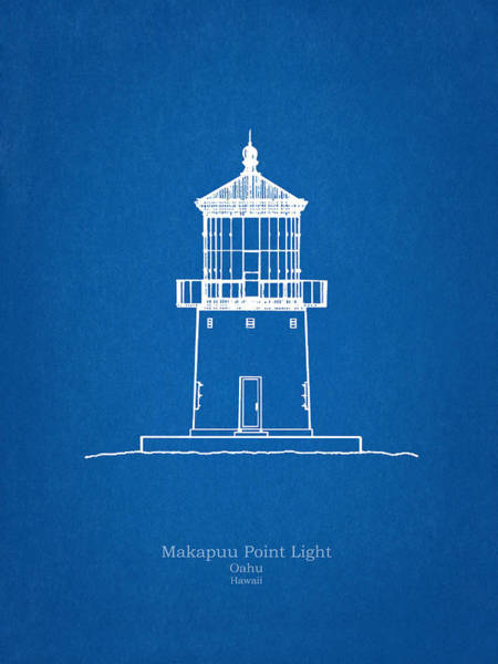 Wall Art - Drawing - Makapuu Point Lighthouse - Hawaii - Blueprint Drawing by JESP Art and Decor