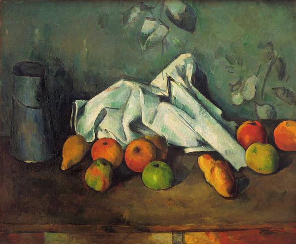 Apple Peel Painting - Milk Can And Apples by Paul Cezanne