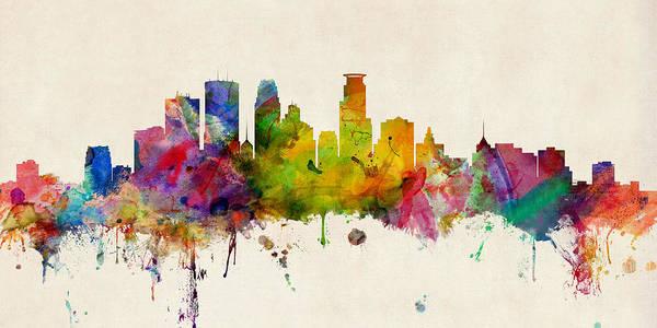 Wall Art - Digital Art - Minneapolis Minnesota Skyline by Michael Tompsett