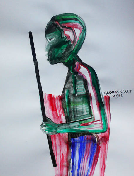 Painting - Nuer Dance -  South Sudan by Gloria Ssali