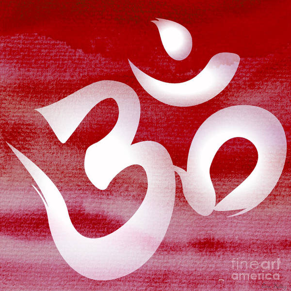 Digital Art - Om Symbol. Red And White by Lita Kelley
