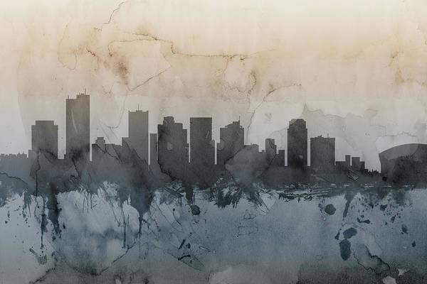 Phoenix Arizona Wall Art - Digital Art - Phoenix Arizona Skyline by Michael Tompsett