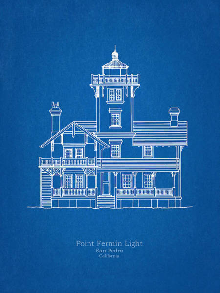 Wall Art - Drawing - Point Fermin Lighthouse - California - Blueprint Drawing by JESP Art and Decor