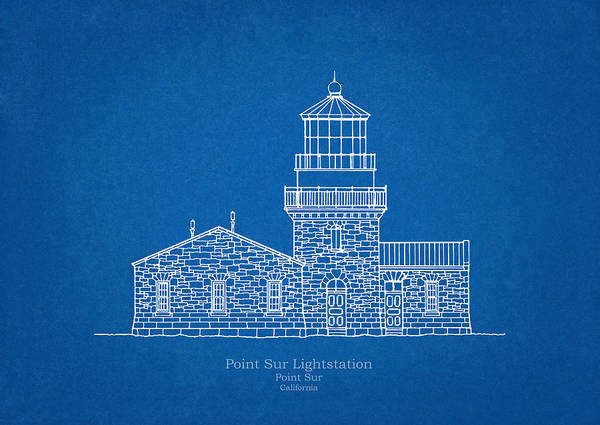 Wall Art - Drawing - Point Sur Lighthouse - California - Blueprint Drawing by JESP Art and Decor