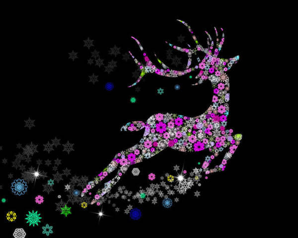 Ornaments Painting - Reindeer Design By Snowflakes by Setsiri Silapasuwanchai