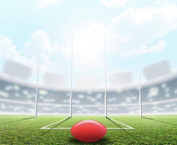 Daylight Digital Art - Sports Stadium And Goal Posts by Allan Swart