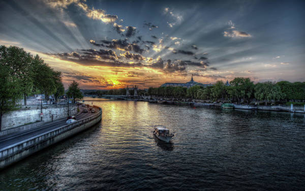 Water Digital Art - Sunset by Maye Loeser