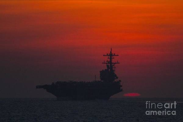 Uss George H W Bush Wall Art - Painting - The Aircraft Carrier by Celestial Images