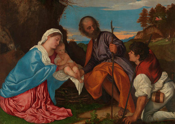Cane Painting - The Holy Family With A Shepherd by Titian