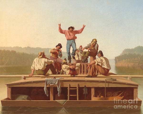 Riverboat Painting - The Jolly Flatboatmen by George Caleb Bingham