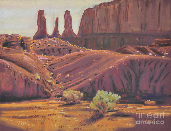 Monument Valley Navajo Tribal Park Wall Art - Painting - Three Sisters by Donald Maier