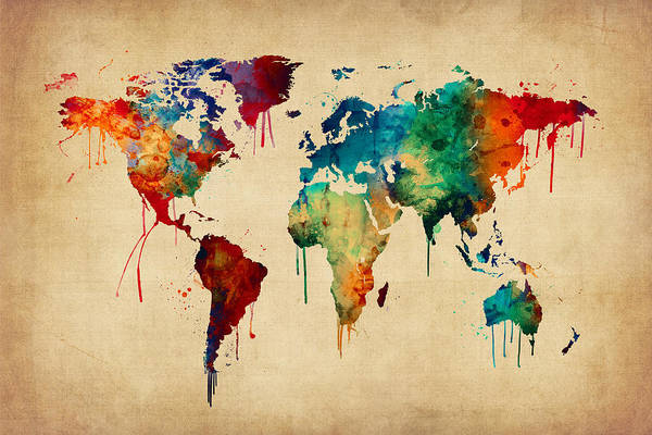 Atlas Digital Art - Watercolor Map Of The World Map by Michael Tompsett