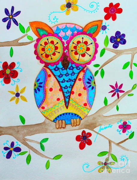 Painting - Whimsical Wise Owl by Pristine Cartera Turkus