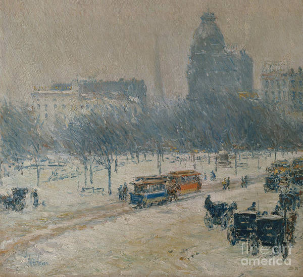 Wall Art - Painting - Winter In Union Square by Childe Hassam