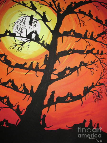 Wall Art - Painting - 60 Cats In The Love Tree by Jeffrey Koss