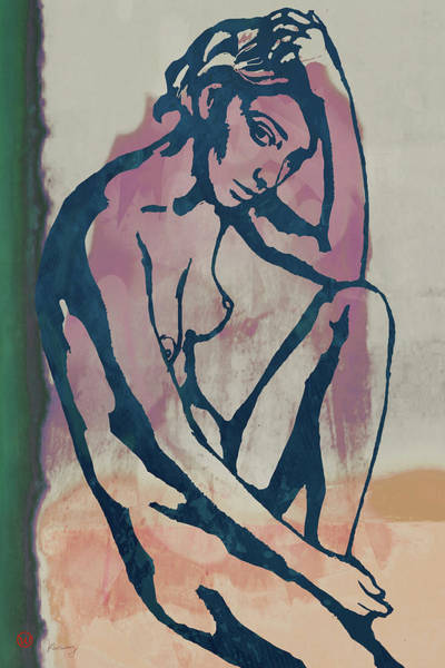 Wall Art - Mixed Media - Nude Pop Stylised Art Poster by Kim Wang