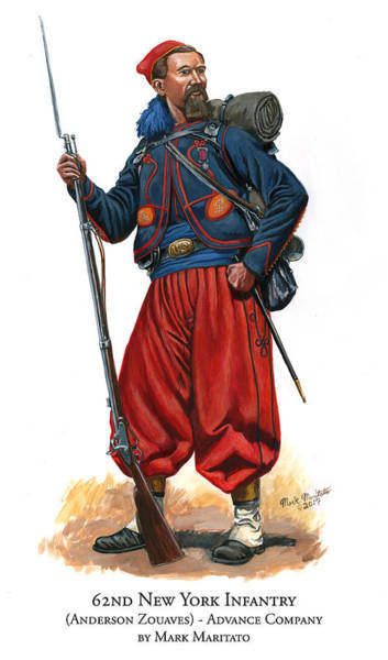 Wall Art - Painting - 62nd New York Infantry - Anderson Zouaves - Advance Company by Mark Maritato