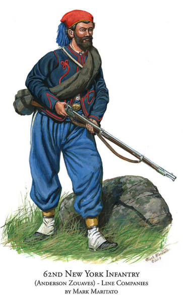 Wall Art - Painting - 62nd New York Infantry - Anderson Zouaves - Line Companies by Mark Maritato