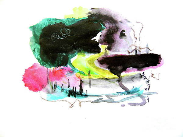 Kiddie Pool Painting - Abstract Landscape Painting by Seon-jeong Kim