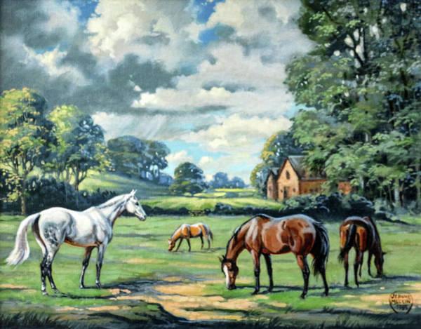Jeanne Wall Art - Painting - #64 - Mares In Field by Jeanne Mellin Herrick