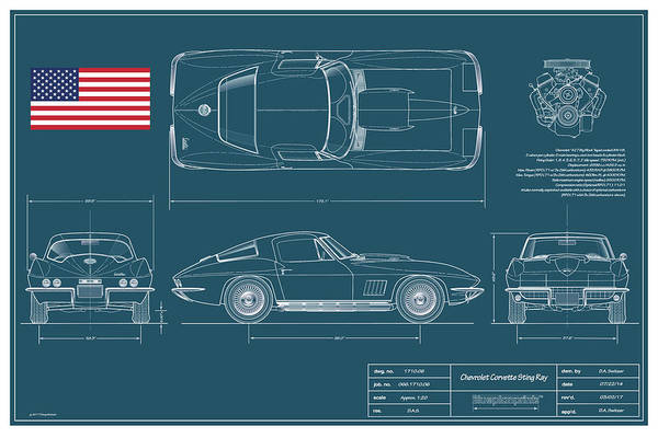 Wall Art - Digital Art - 67 Corvette 427 Coupe Blueplanprint by Douglas Switzer
