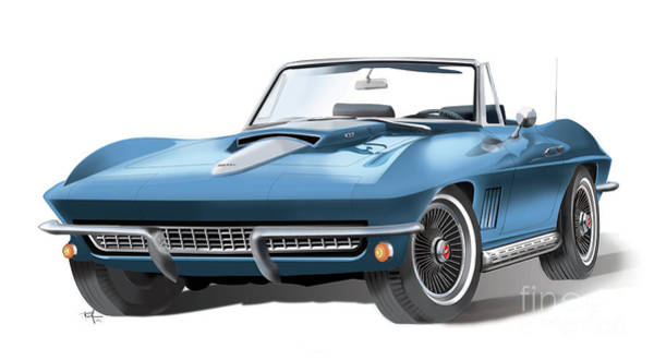 Riffle Digital Art - 67 Corvette by Ron Riffle