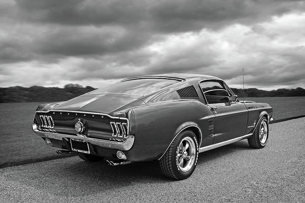 Photograph - 67 Fastback Mustang In Black And White by Gill Billington